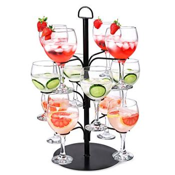 bar@drinkstuff Cocktail Tree Black - Cocktail Glass Display for 12 Glasses, Gin Tree, Ideal for serving Cocktails or Champagne