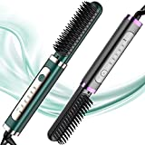 DESIPESI Ionic Hair Straightener Brush - Dry and Wet Straightening Brush with 30 Seconds Quick Heating &5 Heating Levels Keeps Hair for Frizz-Free Silky Hair, Anti-Scald & Auto-Off Safe(Green)