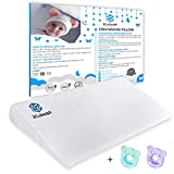 JCube&P Crib Wedge - Crib Wedge Pillow with Cotton & Waterproof Covers - 2 Free Pacifiers - Newborn Wedge Pillow for Better Sleep - Nasal Congestion, Colic & Acid Reflux Relief Crib Wedge Pad