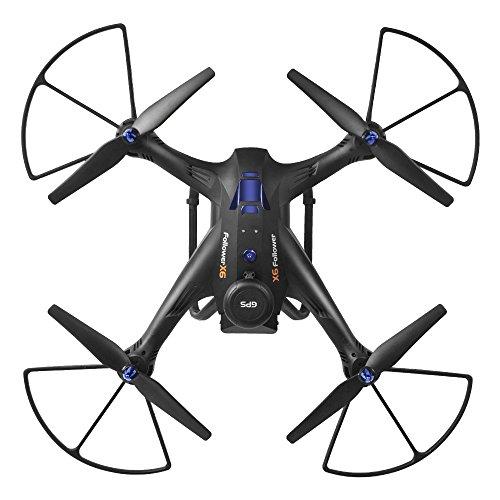 ZZH Droni con Fotocamera 720P, GPS Smart Tracking Around 5G Mappa Fotografia Aerea WiFi FPV GPS Stabile Gimbal Selfie Quadcopter Drones per Bambini Adulti Beginners_Black