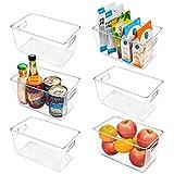 Vtopmart Clear Plastic Pantry Organizer Bins, 6 PCS Food Storage Bins with Handle for Refrigerator,...