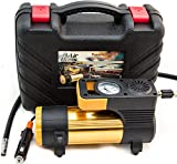 12V Portable TIRE INFLATOR - Small Air Compressor Pump with 2 Connection Options (Standard Lighter Plug or Battery Clips), LED Light, Long Cord, Gloves, Carry Case, Ideal for Trunk