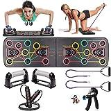 Casa Gimnasio Musculacion Kit, 1 Soportes para Flexiones Push Up Board, 2 Banda Elastica Fitness, 1 Cuerda para Saltar, 1 Fortalecedores de Mano Hand Grip Strengthener, Ejercicio en Casa Mujer Hombre