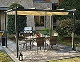 Kozyard Morgan Outdoor 10'x13' Extra Large BBQ Grill Pergola with Sun Shade Gazebo Canopy Beige Canopy,UV Resistant Fabric,