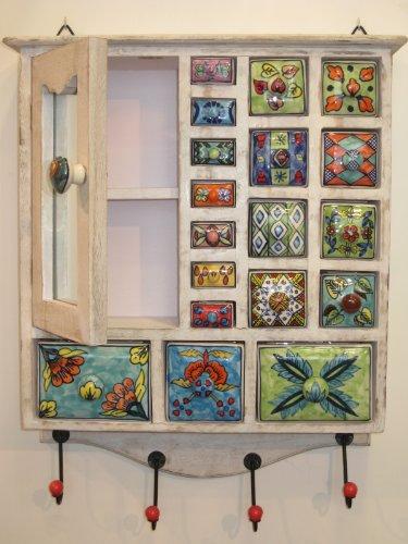 Keramikkommode, 1614WA geweißt, Apothekerschränkchen, Schmuckkästchen, Wandschränkchen Keramik