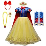 FMYFWY Girls Snow White Princess Costume Carnival Halloween Christmas Birthday Dress Dance Ball Gown w/Cloak Accessories 3-4 Years