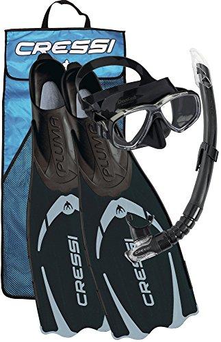 Cressi Pluma / Pluma Bag - Premium Flossen Set, Schwarz/Silber - Schnorchel Set, 41/42