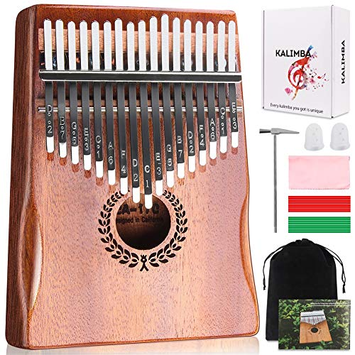 Kalimba 17 Keys Thumb Piano, Easy to Learn Portable Musical Instrument Gifts for Kids Adult Beginners with Tuning Hammer and Study Instruction. Known as Mbira, Wood Finger Piano