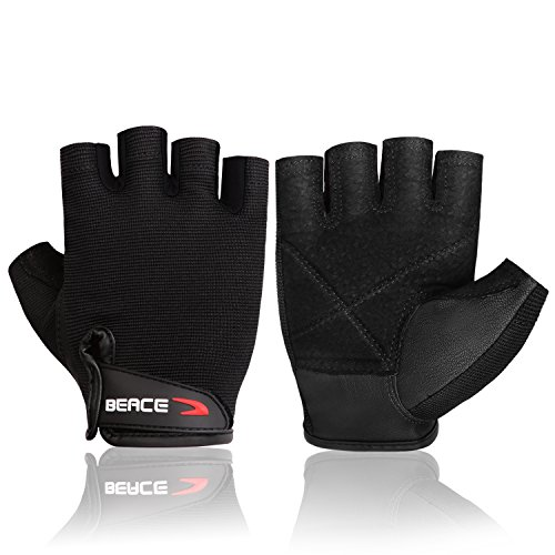 BEACE Weight Lifting Gym Gloves with Breathable Leather Palm for Workout Exercise Training Fitness and Bodybuilding for Men & Women