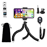 Phone Tripod Set, Ruihengfa Portable and Adjustable Camera Stand Holder with Bluetooth Remote and Universal Clip for iPhone, Android Phone, Camera, Sports Camera and GoPro