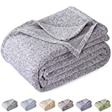KAWAHOME Summer Knit Blanket Lightweight Breathable Fuzzy Heather Jersey Thin Blanket for Couch Sofa Bed King Size 108 X 90 Inches Grey and White