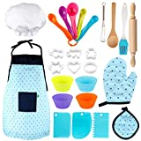 Vanmor Kids Basic Cooking and Baking Set, 26 Pcs Kids Baking Sets with Kids Chef Hat and Apron for Girls & Boys Chef Costume Cooking Set Baking Supplies for Kids Gifts for 3 Year Old