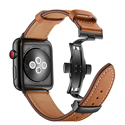 Aottom Compatible for Apple Watch Band 42mm Genuine Leather iWatch Bands 44mm Men Women Sport Wristband Metal Butterfly Buckle Bracelet Replacement Band for 42mm 44mm iWatch Series 5/4/3/2/1, Brown
