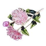 L_shop chrysanthème Fleur Broche Cristaux élégants Strass émail pâquerette...
