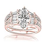 1.58 Carat t.w. GIA Certified Marquise Cut 14K Rose Gold Baguette and Round Brilliant Diamond...