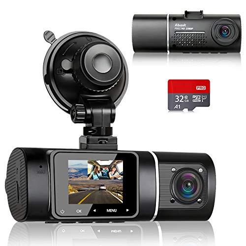 Cámara de coche doble Abask Dash Cam, cámara de salpicadero con cámara de cabina FHD 1080P con visión nocturna, gran angular de 310 °, sensor G, grabación en bucle, monitor de aparcamiento, tarjeta SD de 32 GB incluida