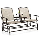 Best Choice Products 2-Person Outdoor Mesh Fabric Patio Double Glider w/Tempered Glass Attached Table - Tan