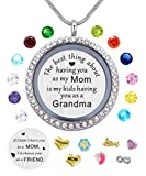 Best Gifts for Mother Mom Grandma Mammy Mum,30mm Round Living Memory Floating Charm Locket Pendant Necklace with Birthstones & Charms