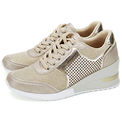 Zapatillas Deportivas de Cuña de Plataforma para Mujer - Casuales Calzado Seguridad Deportivo para Correr Running Zapatos Mujer Comodos RTEUSM1-GOLD-39