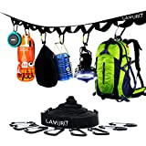 LAMURO Sangle de Suspension et Rangement pour Camping avec 19 Boucles d'Accrochage | 8 mousquetons et 4 Crochets fournis | Organisateur résistant pour campement | 7 mètres | Jusqu'à 67 kg