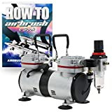 PointZero 1/3 HP Twin Piston Airbrush Compressor - Professional Quiet Tankless Oil-Less Air Pump