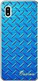 Galaxy A20 ケース ギャラクシーA20 カバー SC02M SCV46 らふら 名入れ メタル ブルー