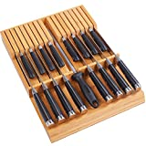 Utoplike In-drawer Knife Block Bamboo Kitchen Knife Drawer Organizer,Large handle Steak knife Holder without Knives, fit for 16 knives and 1 Sharpening Steel (16 Knife Organizer)