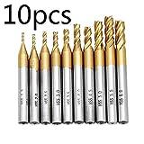 Sepikey 10 stücke 6mm Titan Beschichtung Schaft CNC Bohrer 1,5-6,0mm HSS 4 Flöte Schaftfräser
