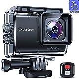 Crosstour Caméra Sport Native 4K 50fps Écran Tactile EIS Caméra Étanche avec Télécommande WiFi...