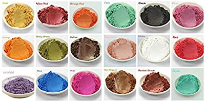 Material: Made from natural mica. Packaging: 15 different colors, each color installed in 3 grams transparent bottle. 15 Variety Color Pack including reds, violets, greens, black, gold, glitter white, pink, blue & copper brown and so oon. Cosmetic Gr...