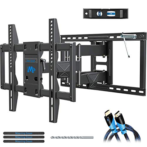 Mounting Dream Full Motion TV Mount UL Listed TV Wall Mount Bracket for 42-75 Inch TVs, Premium Wall Mount TV Bracket, Fits 16, 18, 24 inch Studs with Articulating Arm, VESA 600x400mm, 132 lbs MD2298
