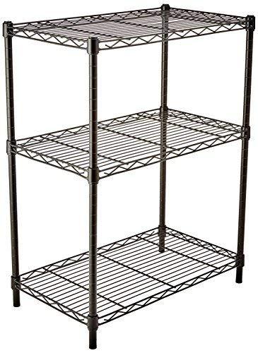 AmazonBasics Lagerregal mit 3 Regalböden, bis zu 115 kg pro Regalboden, Schwarz