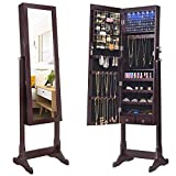 SONGMICS 6 LEDs Jewelry Cabinet Armoire, Lockable Standing Jewelry Organizer, Large Capacity with 2 Drawers, 3 Angel Adjustable, Glossy Dark Brown UJJC94K