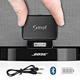 Smof Chargable 30 Pin Bose Sounddock Bluetooth Adapter, Bluetooth Adapter for iPod Classic, Bluetooth Stereo Adapter AUX Output