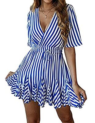 Features: Wrap front, V-neck, Slim elastic bandage waist, Short sleeve, Above knee length, Clear stripe printed, Waist tie belt, A-Line swing, Ruffled hem, Sexy pleated mini dress Swing flowy Summer beach dress, V neck cross wrap front,forms the attr...