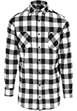 Urban Classics Long Checked Flanell Shirt Chemise Casual, Multicolore (Blk/WHT 00050), Medium Homme