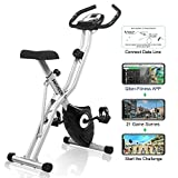 ANCHEER Magnetic Resistance Exercise Bike, Folding Indoor Upright Bike with App Program, Compact Recumbent...