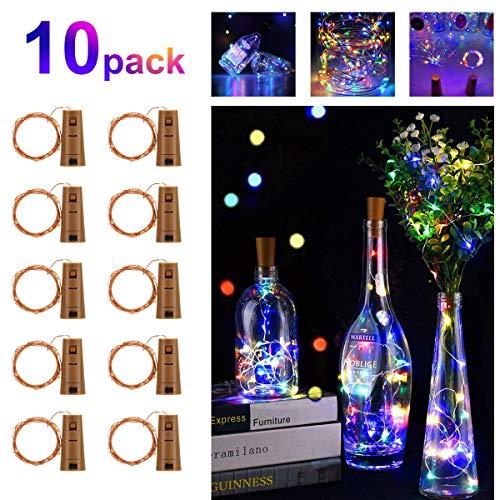 Fulighture - Luci a LED per bottiglia, 20 LED, 2 m, filo di rame, alimentate a batteria, con filo di sughero, per vacanze, luci d'atmosfera, fai da te, decorazioni natalizie, 10 pezzi, multicolore
