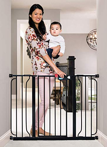 Regalo Easy Step 49-Inch Extra Wide Baby Gate, Includes 4-Inch and 12-Inch Extension Kit, 4 Pack of Pressure Mount Kit and 4 Pack of Wall Mount Kit, Black