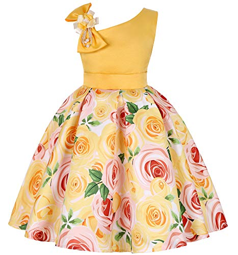 NSSMWTTC Flower Girls Dresses Toddler Baby Birthday Halloween Day Easter Pageant Tea Floral Dress (Yellow,100)