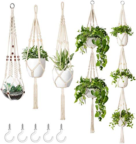Mkono Macrame Plant Hanger Set of 5 Indoor Wall Hanging Planter...