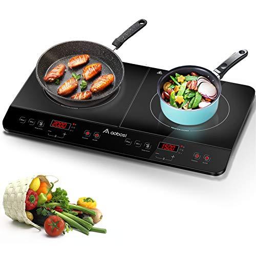 Aobosi plaque de cuisson, table de cuisson à induction double portable, commande par capteur et plateau en verre cristal,Minuterie de 4 heures,3500W