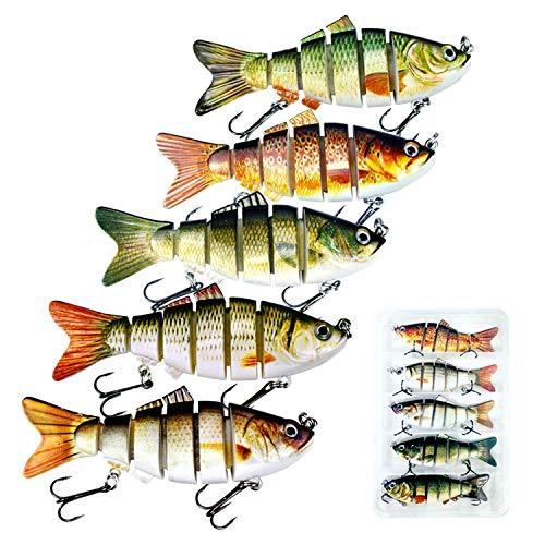 DOUBFIVSY Esche Artificiali Spinning 3.9 Esche da Pesca Esca di Pesce a pi Sezioni Dura con 2 Ganci, Esche Finta Pesca Realistico Esche Swimbait per Lucci, Persici, Trote, Spigola (5 Pezzi)