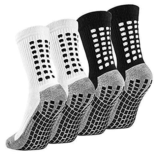 Emooqi calze calcio antiscivolo, 2 paia di calzini sportivi da uomo, in gomma