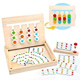 Symiu Montessori in Legno Puzzle Matematica Ordinamento Giocattolo Educativo con Carte Modello e...