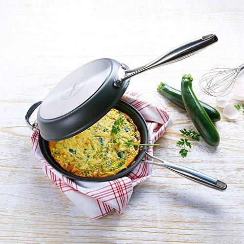 Hagen Grote Wendepfanne, aus 2 Teflonpfannen Ø 24 cm, 4 und 5 cm hoch, für alle Herdarten, backofenfest bis 250 °C, perfekte Pfanne für Omeletts, Pfannkuchen und Tortillas