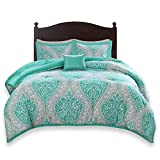 Comfort Spaces Coco 3 Piece Comforter Set Ultra Soft Printed Damask Pattern Hypoallergenic Bedding, Twin/Twin XL(66'x90'), Teal-Grey
