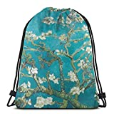 MSGUIDE Almond Blossom Women Drawstring Backpack Bag Mother's Day Gift Lightweight Polyester Sport Gym String Sackpack For Yoga Travel Shopping