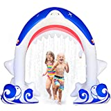 MeiGuiSha Inflatable Shark Yard Summer Sprinkler Toy, Over 6 Feet Long, Perfect Outside Inflatable Water Park for Summer Fun