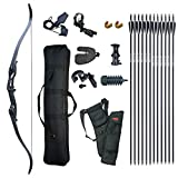 D&Q Hunting Recurve Bow and Arrow Set for Adults Kit Black Hunter Longbow Archery Hunting Target...